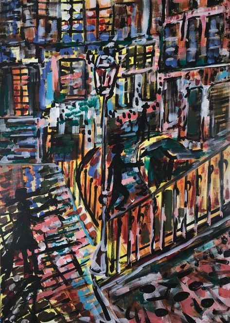 darklight in the city, acrylic on canvas, cm 50 x cm 70, Occhiobello, 2020
