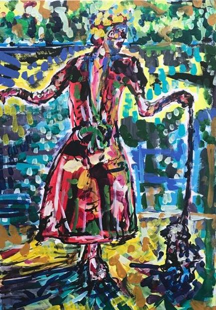 on the beach with your dog, acrylic on canvas, cm 50 x cm 70, Occhiobello, 2020