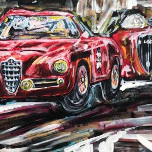 cars running, acrylic on canvas, cm 50 x cm 70, Occhiobello, 2020