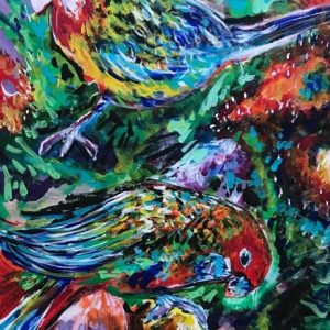 parrots in the jungle, acrylic on canvas, cm 50 x cm 70, Occhiobello, 2020