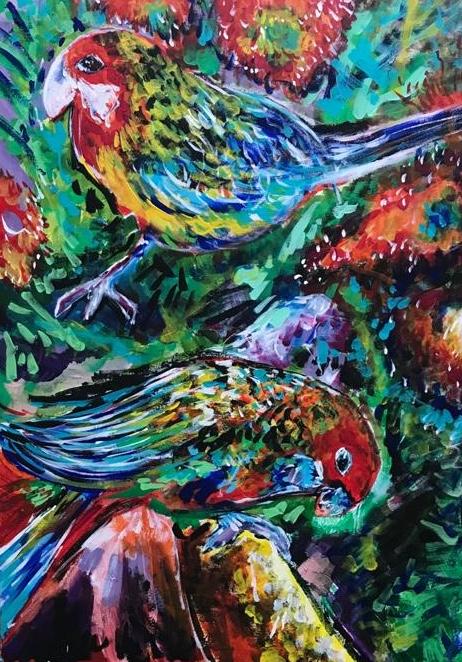 parrots in the jungle, acrylic on canvas, cm 50 x cm 70, Occhiobello, 2020