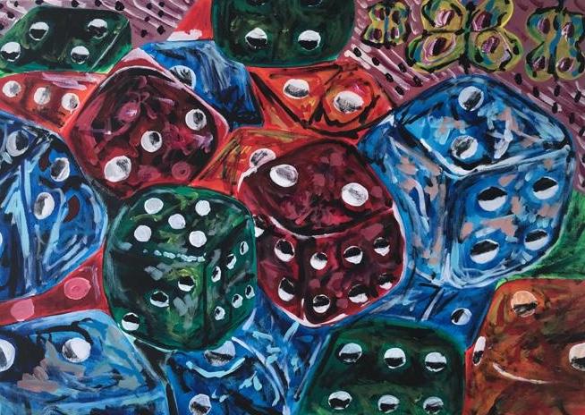 win to luck once, acrylic on canvas, cm 50 x cm 70, Occhiobello, 2020