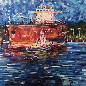 fort Alamo into the darkness, acrylic on canvas, cm 50 x cm 70, Occhiobello, 2020
