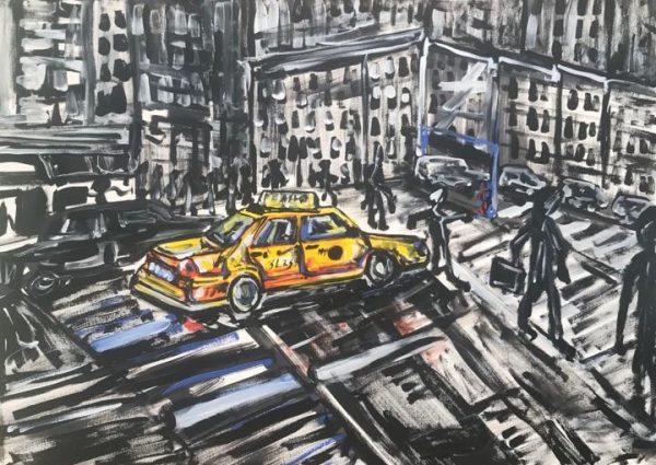 in the city a taxi, acrylic on canvas, cm 50 x cm 70, Occhiobello, 2020