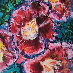 flowers in the garden, acrylic on canvas, cm 60 x cm 80, Occhiobello, 2020