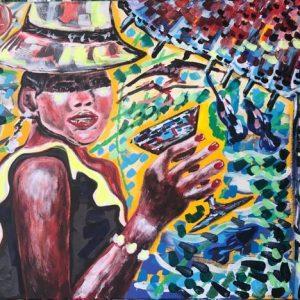juice drink of water, acrylic on canvas, cm 50 x cm 70 , Occhiobello, 2020