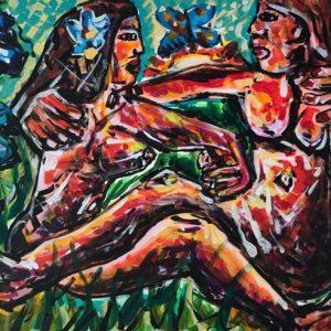 savage couple on air, acrylic on canvas, cm 60 cm x cm 80, Occhiobello, 2020