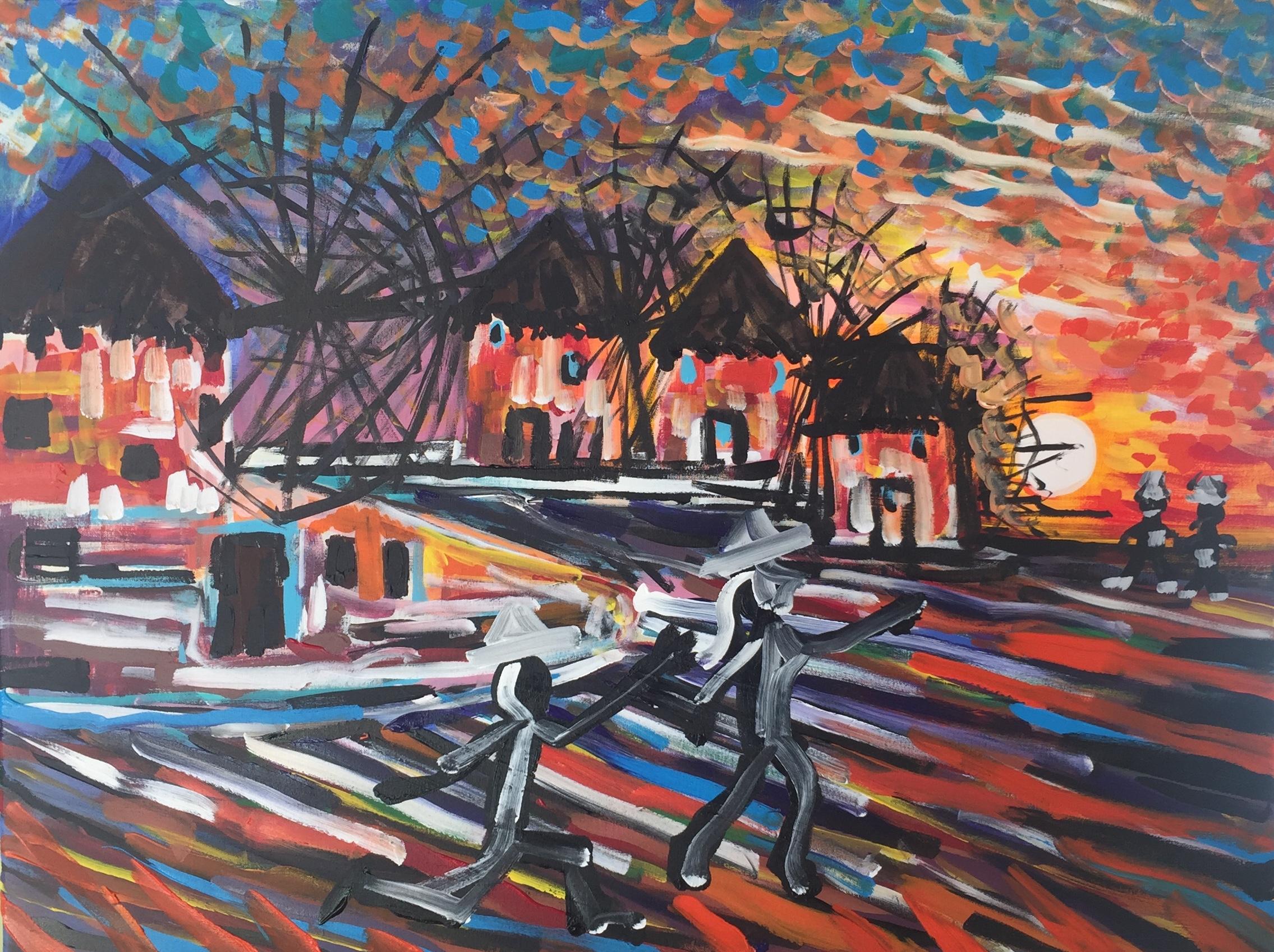 windmills in the sky, acrylic on canvas, cm 60 x cm 80, Occhiobello, 2020