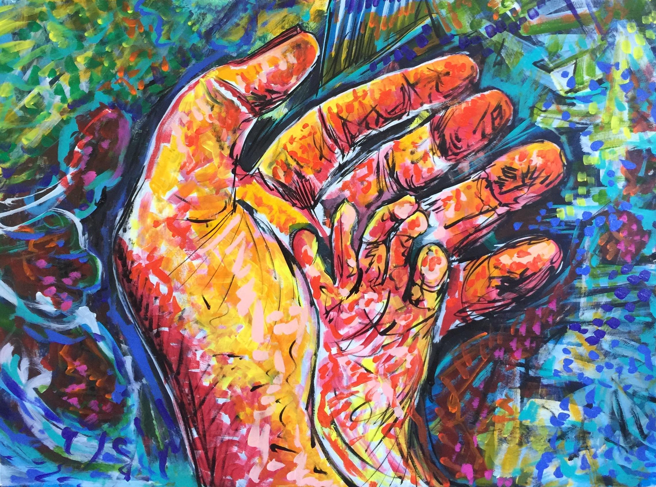 hand in hand, acrylic on canvas, cm 60 x cm 80, Lido delle Nazioni, 2020