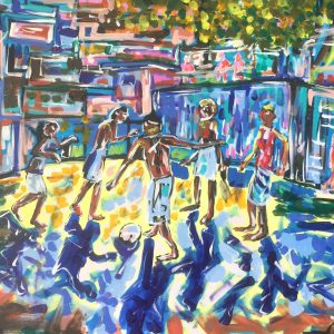 playing in favelas, acrylic on canvas, cm 60 x cm 80, Lido delle Nazioni, 2020