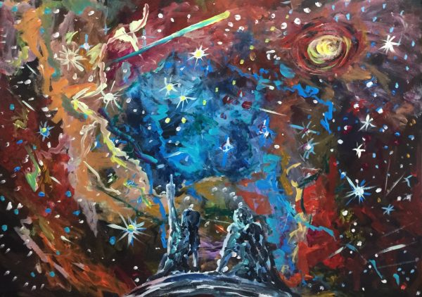 Chrysalis in the making, acrylic on canvas, cm 50 x cm 70, Lido delle Nazioni, 2020
