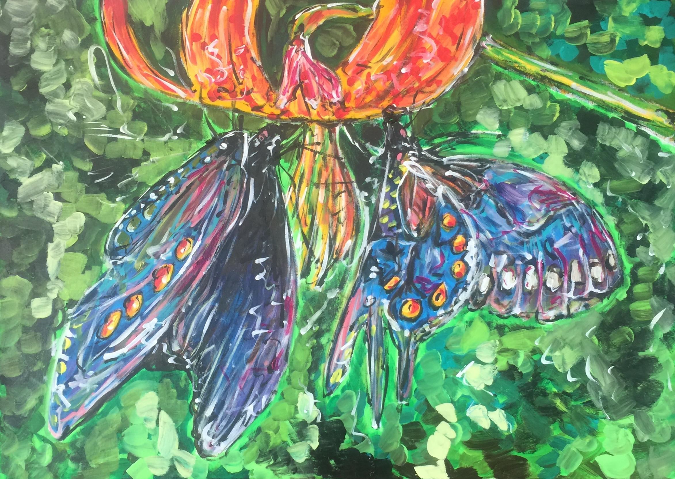tropical flower, acrylic on canvas, cm 50 x cm 70, Lido delle Nazioni, 2020