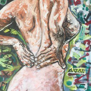Lona naked girl, acrylic on canvas, cm 50 x cm 70, Lido delle Nazioni, 2o2o