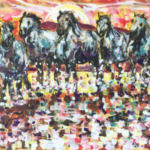 The wild horse's spirit, acrilico su tela, cm 50 x cm 70, Lido delle Nazioni, 2020