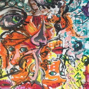 The three moons of desire, acrylic on canvas, 50 x 70 cm, Lido delle Nazioni, 2020