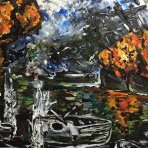 Caccia bombardieri: Pearl Harbor , acrylic on canvas , cm 50 x cm 70 , Lido delle Nazioni , 2020