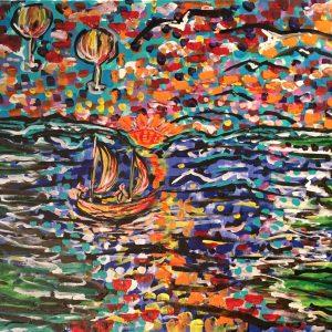 La barca dei miei sogni , acrilico su tela , cm 50 x cm 60 , Lido delle Nazioni , 2020