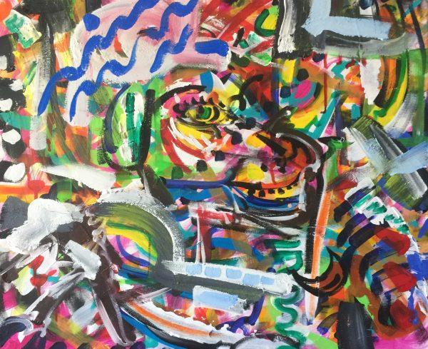 Ra's eyes, acrilico su tela , cm 50 x cm 60 , Lido delle Nazioni , 2020