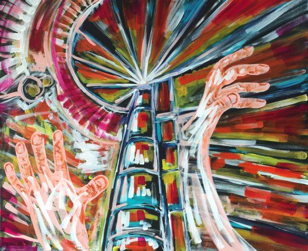 Struttura semicircolare inafferrabile , acrilico su tela , cm 50 x cm 60 , Lido delle Nazioni , 2020