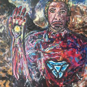 And I ' m Iron Man , acrilico su tela , cm 50 x cm 60 , Lido delle Nazioni , 2020