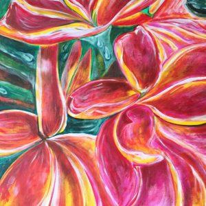 Combinazione floreale , acrilico su tela , cm 50 x cm 60 , Lido delle Nazioni , 2020
