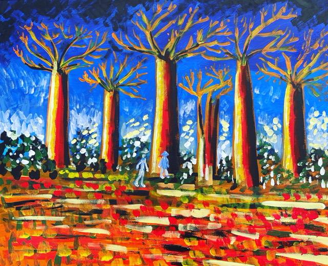 Baobab , acrilico su tela , cm 50 x cm 60 , Occhiobello , 2021
