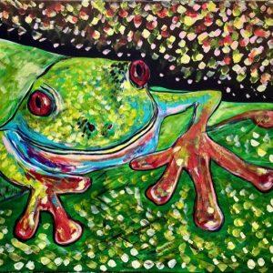 Ranocchietto , acrilico su tela , cm 50 x cm 60 , Occhiobello , 2021