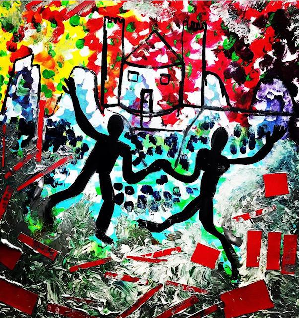 Dancing in the snow ,acrilic on canvas , cm 50 x cm 60 , Occhiobello , 2021