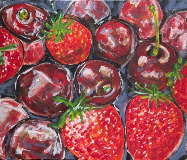 Fragole e ciliegie , acrilico su tela , cm 50 x cm 60 , Occhiobello , 2021